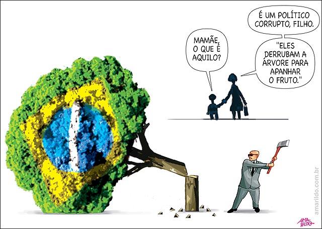 Politicos derrubam a arvore para apanhar o fruto