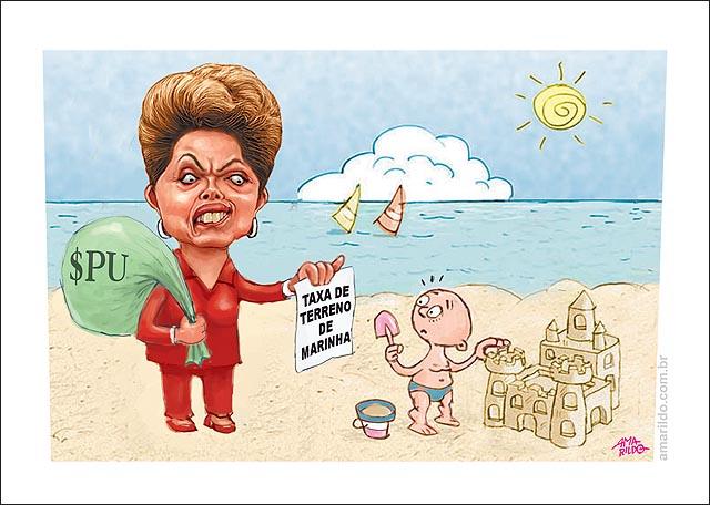 Terreno de Marinha crianca castelo de areia Dilma cobra taxa prai es