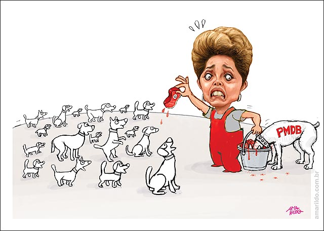 Dilma distribuindo ministerios cachorro PMDB comendo carne no balde