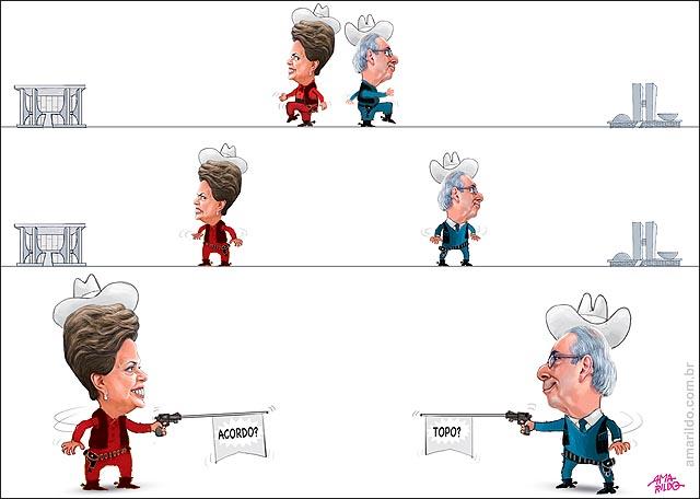 Dilma x Cunha Dueleo arma revolver acordo topo impeachment