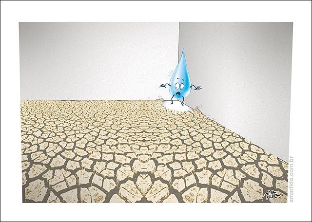 Seca Gota dagua acuada no canto pela terra seca