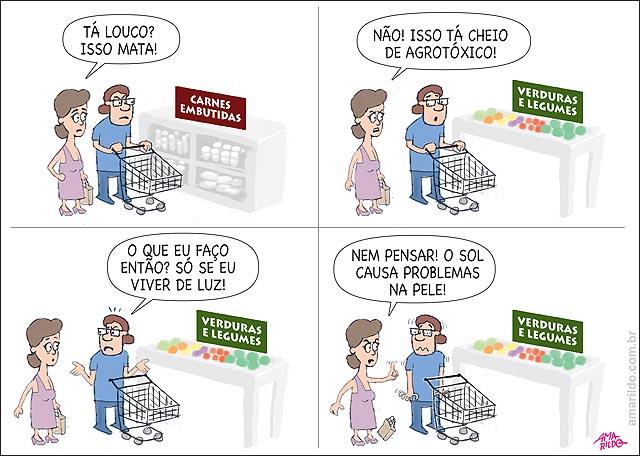 Supermercado carrinho Carne embutida saude doenca verdura agrotoxico luz problemas na pele