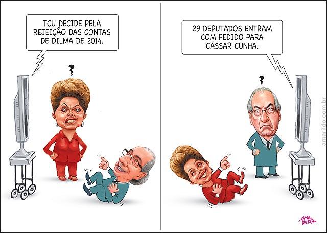 Dilma rindo gargalhando Cunha TCU rejeita contas deputados querem cassar cunha