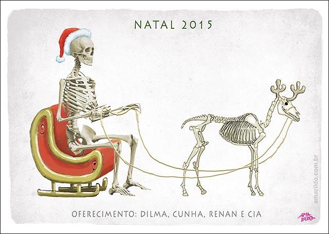 Natal Magro Noel esqueleto renas esqueleto crianca assustada atras da mae