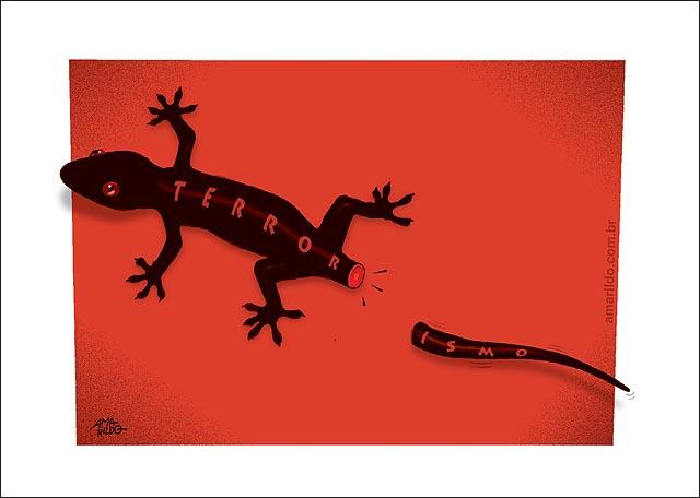 Terrorismo Lagartixa soltando o Rabo Vermelho