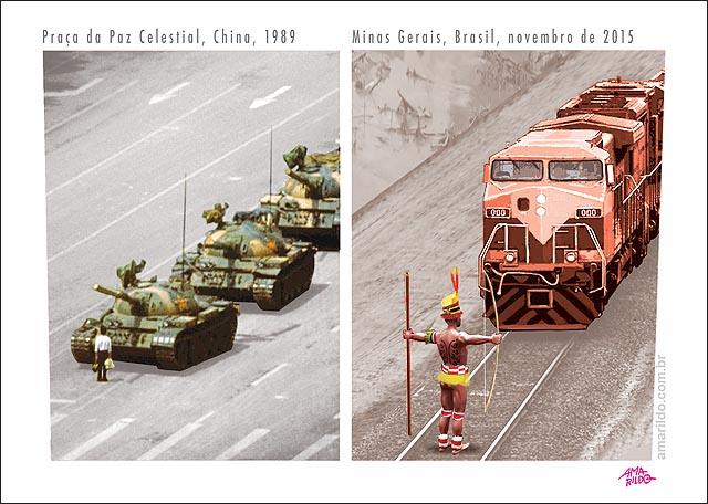 Homem Para Tanque de Guerra China 1989 Indios param trem da vale Locomotiva Lama rio Doce 2