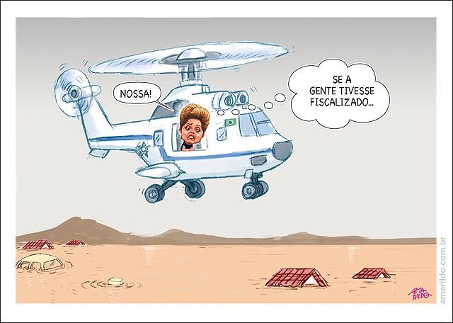 Dilma sobrevoa de helicoptero rio doce lama colatina acidente barragem por nos nao fiscalizamos
