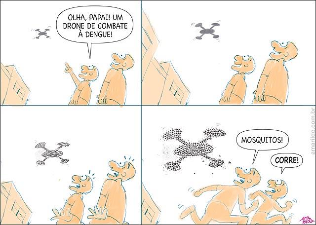 Drone de combate a dengue mosquitos em forma de drone corre mae e filho