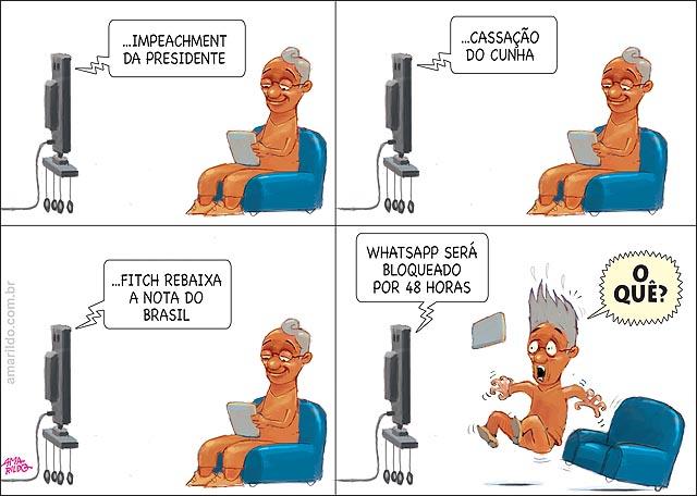 WhatsApp fora do ar juiz mandou homem sofa tv susto nao liga para impechment e politica