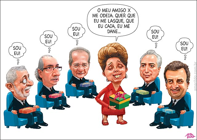 amigo x inimigo x  Dilma presente aecio lula cunha renan temer