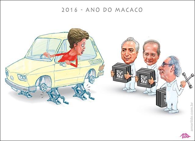2016 ano do macaco dilma brasilia carro cunha renan temer pneu quadrado remendo 04