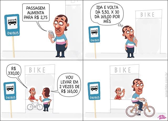 Aumento passagem de onibus ponto loja bicicleta homem faz contas e compra bike