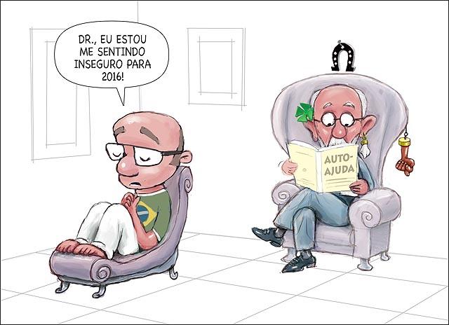 Brasileiro Pessimista p 2016 no psicanalista com livro de auto-ajuda