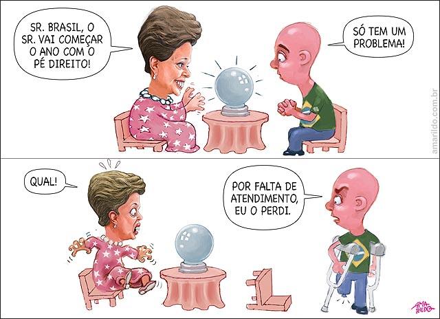 Dilma susto sentada futuro previsao 2016 entrar com o pe direito homem de muletas aleijado perdeu o pe em 2015