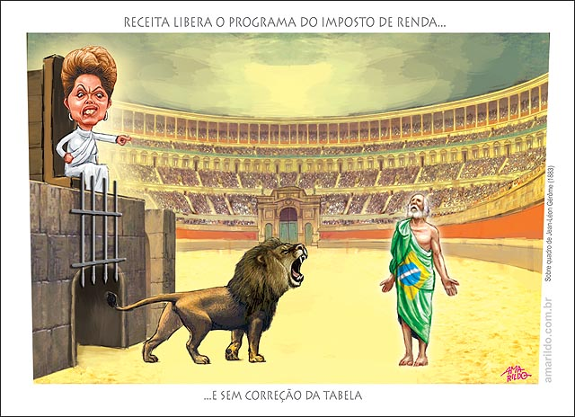 Receita libera o programa do IR imposto de renda dilma na arquibancada com roupa romana gladiador B