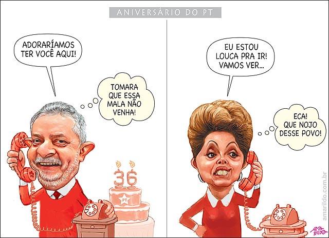 Aniversario PT 36 anos Lula telefone Dilma bolo falso adoraira ter ido B
