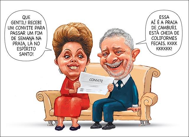 Dilma convite fim de semana praia do es lula camburi colifome fecal poluicao