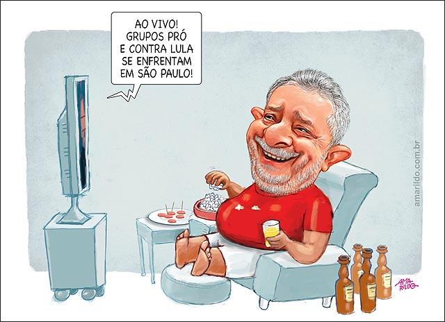 Lula depoimento suspenso briga pro x contra TV sofa pipoca Justica triplex sitio