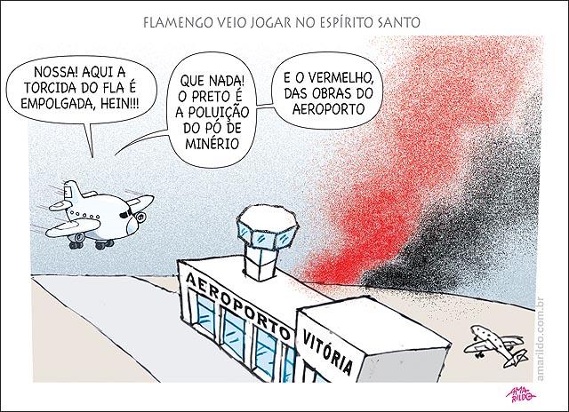 Poluicao po preto e po vermelho flamengo veio jogar no ES aeroporto aviao obras minerio