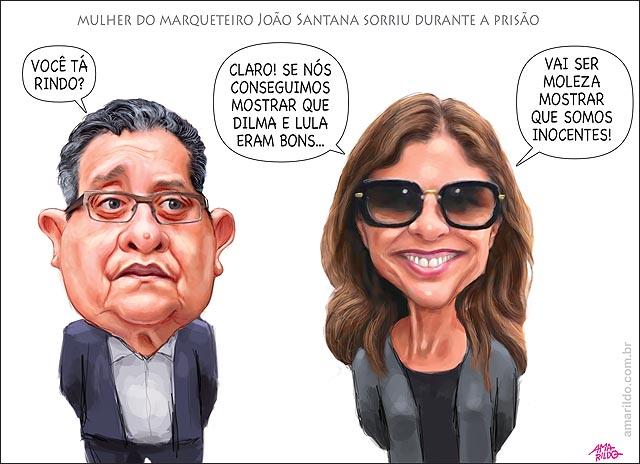 Mulher do marqueteiro Joao Santana sorriu no IML prisao Lula Dilma