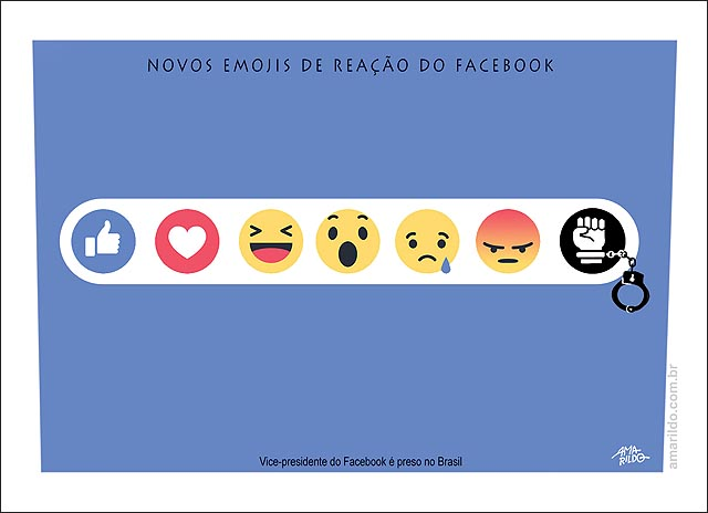 Vice presidente do Facebook preso novo icone algema novos emojis mao preso