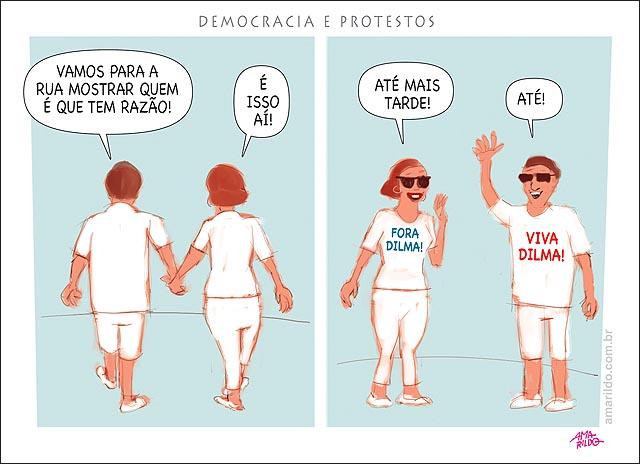 Protesto x democracia homem mulher andando tras costas de maos dadas a favor e contra dilma