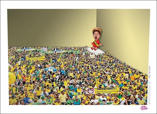Dilma Medo acuada no canto parede protesto ruas impeachment B