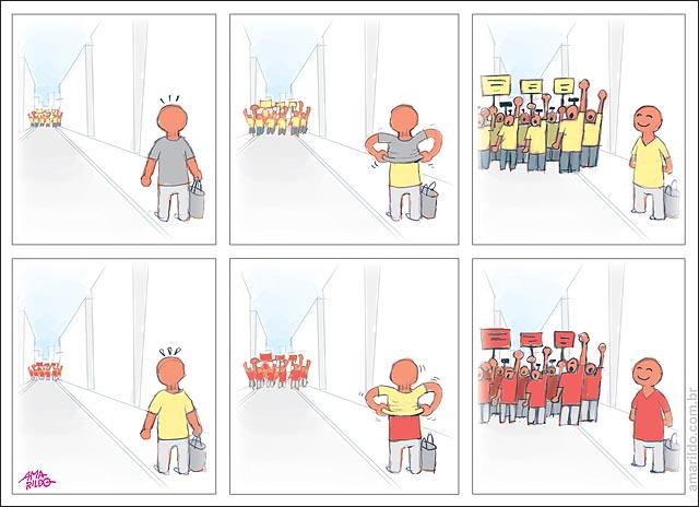 Protestos vira folha camisa vermelha zx amarelo troca de camisa na rua