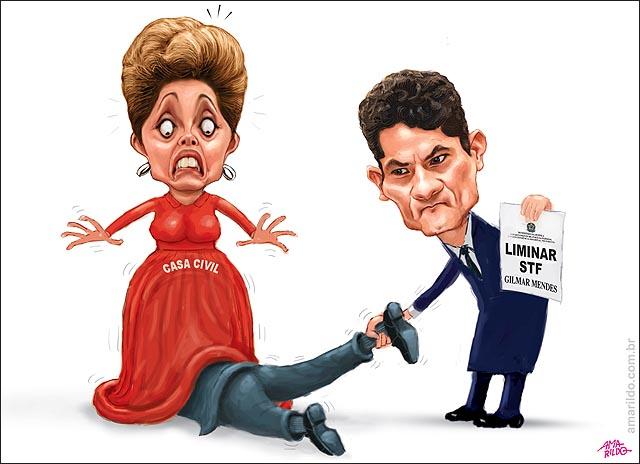 Lula escondido debaixo da saia de Dilma assume ministerio Casa Civil escapa de moro puxando perna foro priviligiado D