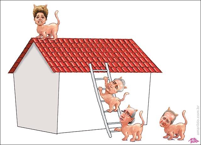Dilma Gato Subiu no telhado casa cair impeachment pt
