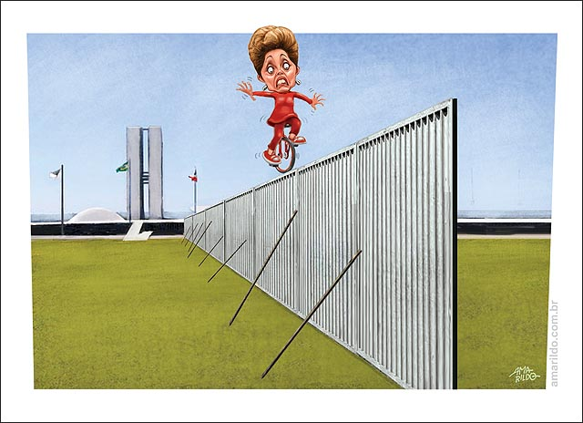Muro congresso Dilma equilibrista bicicleta monocliclo