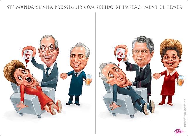 Impeachment Temer pimenta nos olhos de Dilma e refresco STf Manda Cunha processo