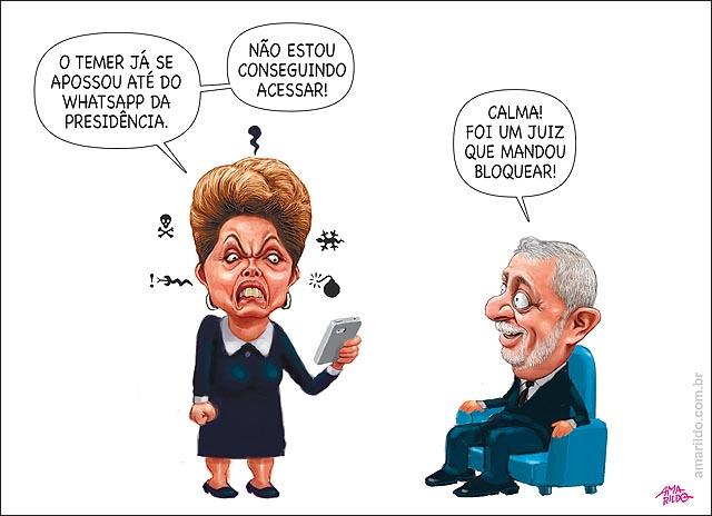 Dilma Raiva Temer Celular whatsupp bloqueado por juiz 72 horas