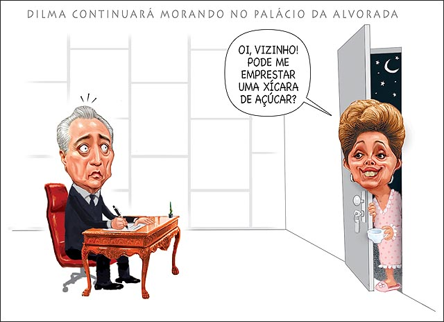 Temer Vizinha Dilma Pedindo Uma xicara de acucar no gabinete da presidencia da republica