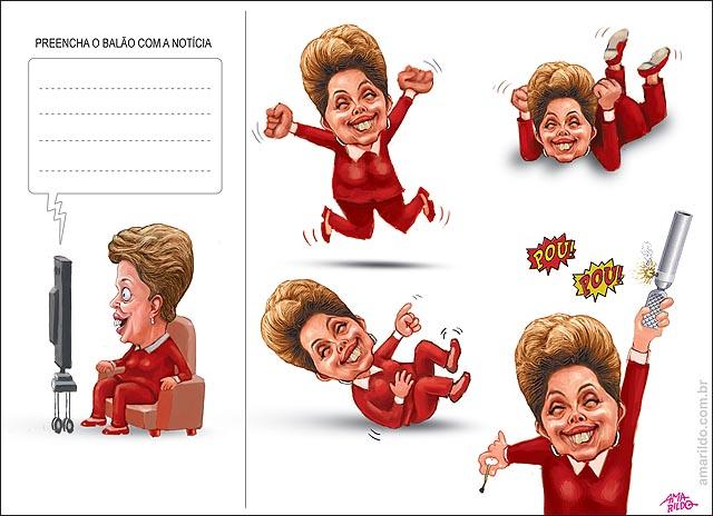 Dilma Rindo Gargalhando Lendo Jornal Noticia Cunha afastado soltando foguete