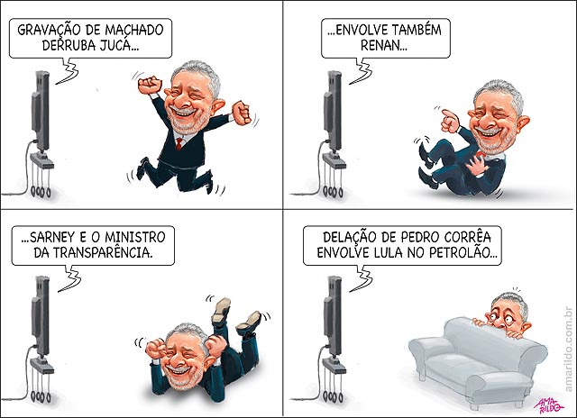 Lula rindo c gravacoes do machado s romero juca renan sarney fabiano silveira transparencia vibrando assustado atras do sofa B