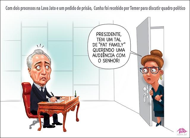 Temer recebe cunha p discutir quadro político gabinete presidente fat family porta secretaria