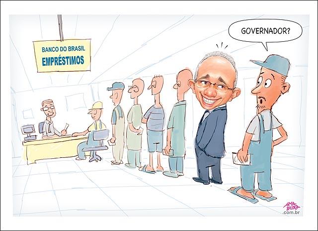 Hartung na fila do banco do brasil pedindo emprestimo gerente