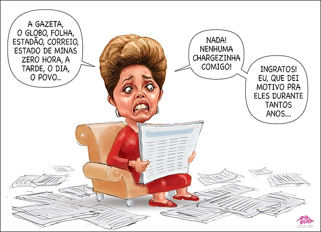 Dilma reclamando que nao tem cherge dela nos jornais deu motivo anos