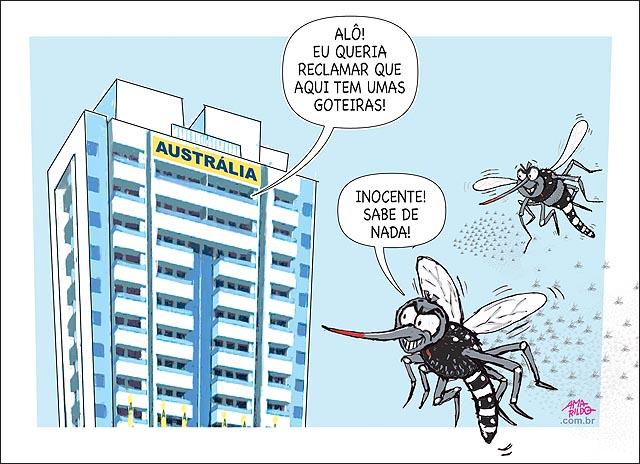 Mosquito dengue aedes chikungunha zika predios olimpiadas delegacao autralia reclama telefone goteira parte eletrica gas
