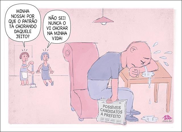 HOmem chorando clendo jornal sbar candidatos a prefeito B