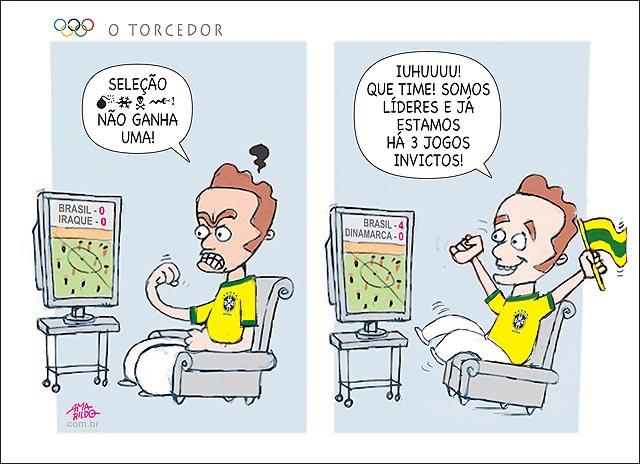 Torcedor selecao brasileira olimpiada neymar bandeira tv xinga elogia