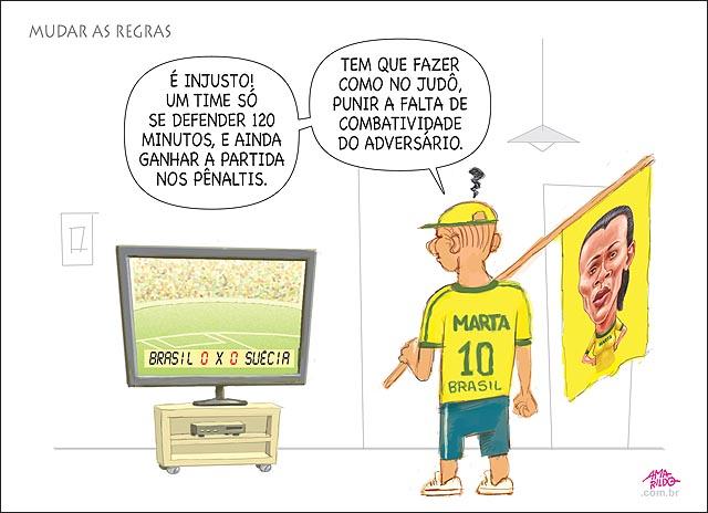 Futebol musra regras igual judo falta de combatividade brasil perde para suecia penaltis tv torcedor camisa marta bandeira brasil