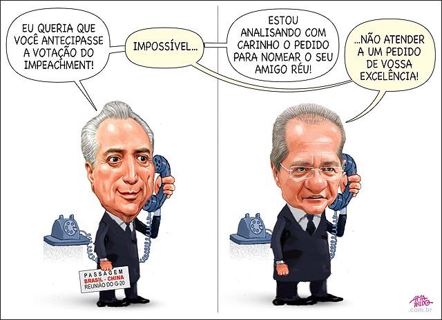 Temer Telefone Renan antecipar impeachment impossivel nomeia ministro reu atende
