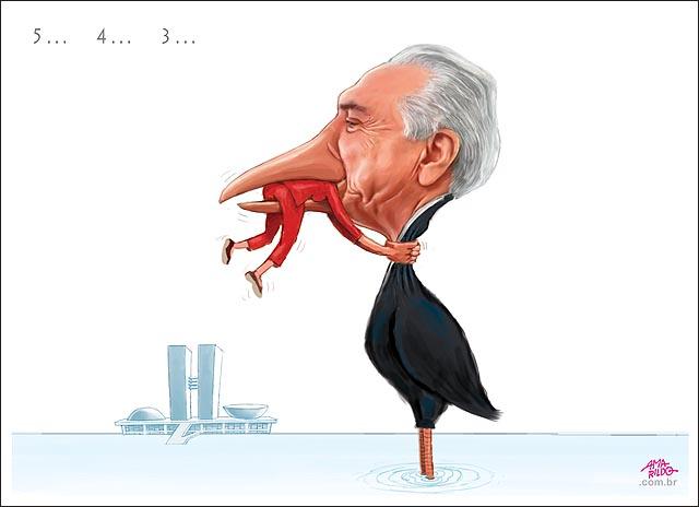 Dilma x Temer Nunca desista sapo agarrado pescoco da ave