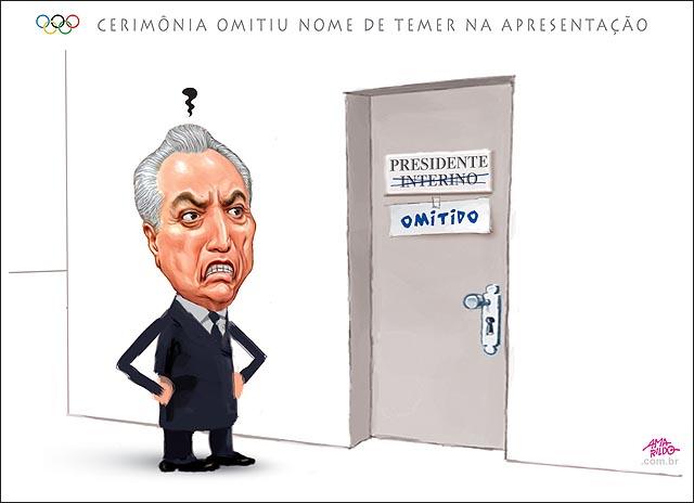 Olimpiada Cerimonia de abertura omitiu nome de Temer na apresentação puta com faixa na mao presidente interino omitido