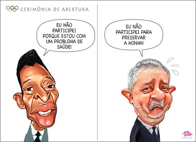 Pele nao participa da abertura da olimpiada acender a pira por causa de um problema de saude Lula tambem preservar