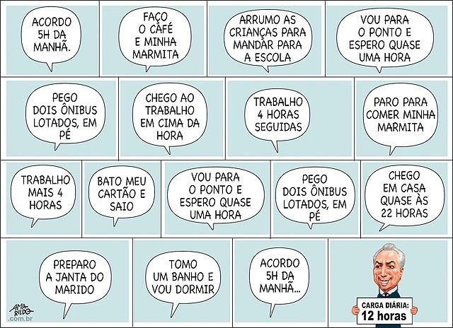 Empragado trabalhadro brasileiro trabalha 8 horas dia Temer quer 8 horas acorda cafe escola marmoita onibus lotado 2