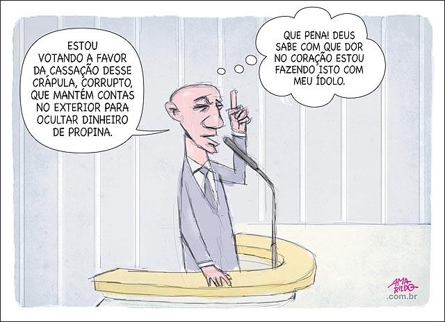 Deputado votando a favor da cassacao de cunha chamando de crapula pensando meu idolo que pena congresso