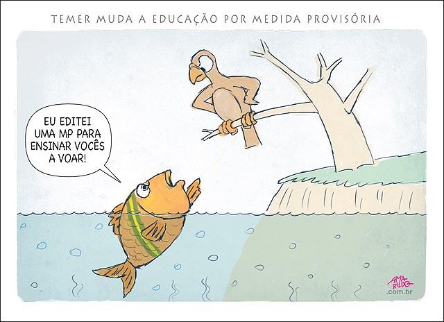 Peixe ensinando ave passaro a voar temer muda reforma a educacao acaba coma artes e educacao fisica